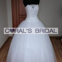MGASM3067(f) sheer neckline princess wedding dress - Coral's Bridal