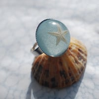 Real Starfish Ring Baby Blue  Nautical by NaturalPrettyThings