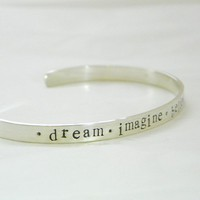 Thicker personalized sterling silver cuff bracelet by PunkyJane