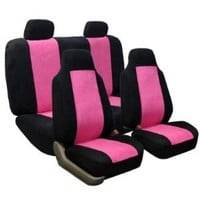 Classic Suede Car Seat Covers Pink / Black color Airbag Compatible and Rear Split: Automotive