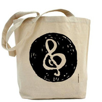 Music Note Treble Clef Canvas Tote Bag by PamelaFugateDesigns