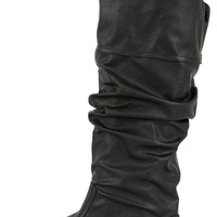 Qupid Neo-144 Black Slouchy Knee High Boots | MakeMeChic.com