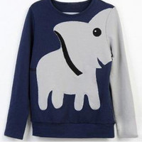 323u Fun elephant pattern long-sleeved pullover sweater leisure