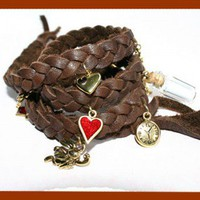 Alice in Wonderland Wrap Leather Bracelet Brown and Gold | SunnyBeachJewelry - Jewelry on ArtFire