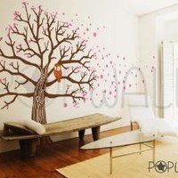 Vinyl Wall Art Decal Sticker  Owl on Blossom Tree   045 by NouWall