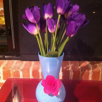 Blue Vase with Pink Flower Decoration