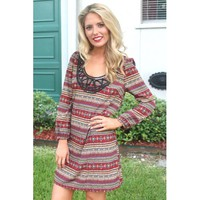Patch Trim Aztec Print  Tunic Dress