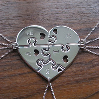 Heart shaped jigsaw puzzles with hearts and initials pendants necklaces