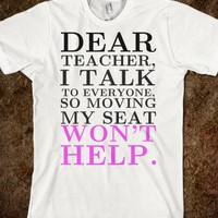 DEAR TEACHER TEE T SHIRT