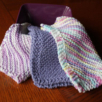 Purple Knitted Dishcloths - Set of 3