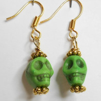 Skull Turquoise Howlite Green Carved Skull Earrings