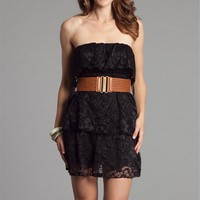 Black Lace Strapless Dresses