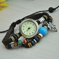 Vintage Style Leather Belt Watch with Leaf Pendant 24