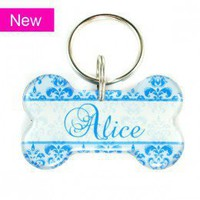 Blue Damask Dog Bone Designer Pet Id Tag - Happy Tags