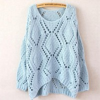 Blue Short After Long Before Hollow Sweater
