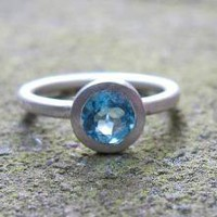 Blue Topaz Pure Silver Stacking Ring by SaaraReidsema on Etsy