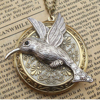 Steampunk Hummingbird Locket Necklace Vintage Style by sallydesign