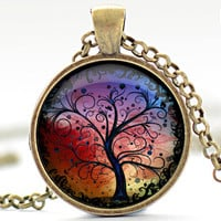 Tree of Life Necklace, Tree Art Pendant, Colorful Tree Necklace, Your Choice of Finish (232)