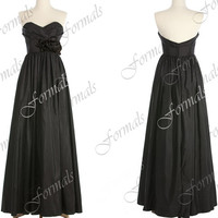 Strapless Sweetheart Taffeta  Black Wedding Party Dresses, Black Prom Dresses, Formal Gown, Bridesmaid Dresses