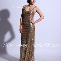 Straps Sweetheart Floor Length Sequined Long Gold Prom Dresses, Wedding Party Dress, Evening Dress, Formal Gown