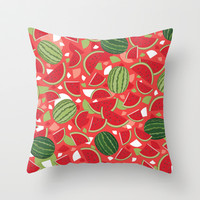 Watermelon Throw Pillow by Ornaart