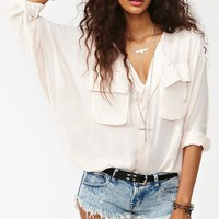 Utility Batwing Blouse - Blush in What's New at Nasty Gal