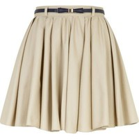 light beige belted mini skater skirt  - mini skirts - skirts - women - River Island