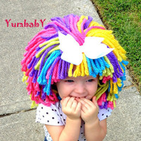 Clown Wig, Halloween Costume, Dress up clothes, Yarn wigs, Costume for girls, Pageant Hair