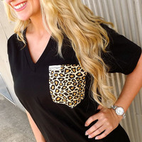Cheetah Pocket Everyday V-Neck | The Rage