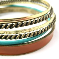 SALE - 6 Piece Set Boho Chic Braided Woven Hammered Bangles