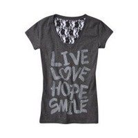 Product: License Juniors Live Love Graphic Tee - Gray