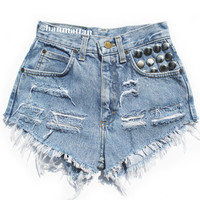 "ALL SIZES ""DOT"" Vintage Levi high-waisted denim shorts blue distressed frayed studded pocket"