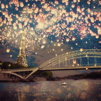 Love Wish Lanterns over Paris Art Print by Paula Belle Flores