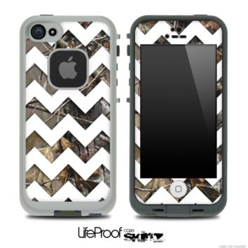 Real Camo with White Chevron Pattern Skin for the iPhone 5 or 4/4s LifeProof Case - iPhone