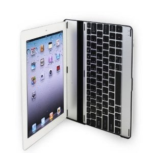 MiniSuit Aluminum Bluetooth Keyboard Case for Apple iPad 2 (Silver with Black Keys)