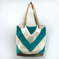 Canvas & Leather City Market Tote in Hand Dyed by Mclovebuddy