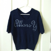 Allons-Y Sweater hand stenciled OOAK upcycled blue and white size S dolman sleeve bagtwing navy