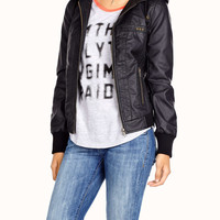 Graphic topstitch faux leather jacket | Simons