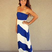 Strapless Chevron Maxi (Blue)