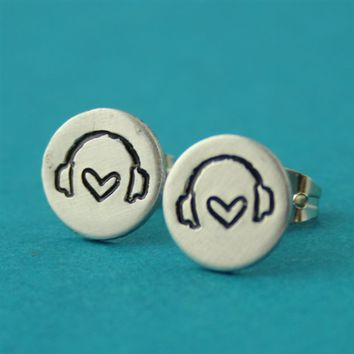Headphones Stud Earrings - Spiffing Jewelry