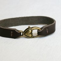 Leather Strap Bracelet with Heart Charm