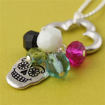 Sugar Skull Charm Necklace in Pink and Blue - Spiffing Jewelry
