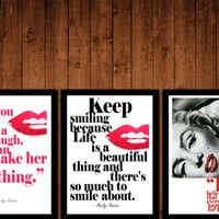 3 vintage red lips style marilyn monroe quote girls room WALL DECor art print GIFT