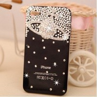 3D Swarovski Luxury Vivienne westwood Logo Crystals Black Bling Case Cover for iphone 4 / 4s: Cell Phones & Accessories