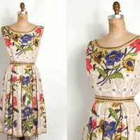vintage 1950s dress / 50s silk floral garden party by SwaneeGRACE