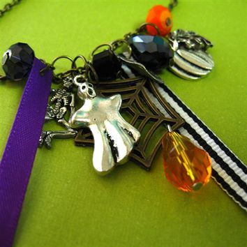 Halloween Ribbon Charm Necklace - Spiffing Jewelry