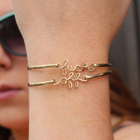 Double Gold Brass fuck off Bracelets by screwords on Etsy