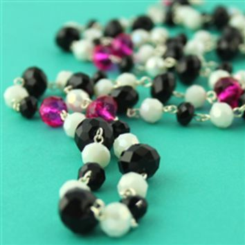 Black, White & Fuchsia Buxom Necklace - Spiffing Jewelry