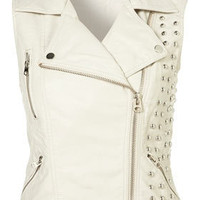 Sleeveless Studded PU Biker Jacket - Topshop