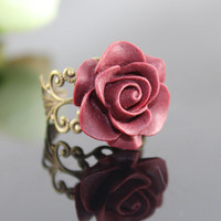 Vintage Wine red ROSE Resin adjustment Ring by BeautyandLuck